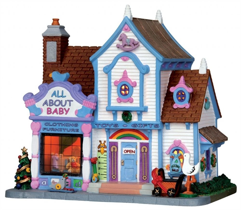 Lemax Plymouth Corners All About Baby Lighted Porcelain Retired Building 15234